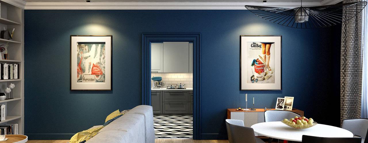 Трехкомнатная квартира для молодой семьи в современном стиле с элементами поп-арта Гостиная в скандинавском стиле от Studio 25 Скандинавский