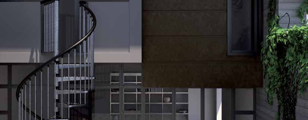 Escaleras para exteriores de Zinc RINTAL Vestíbulos, pasillos y escalerasEscaleras Metal Metálico/Plateado