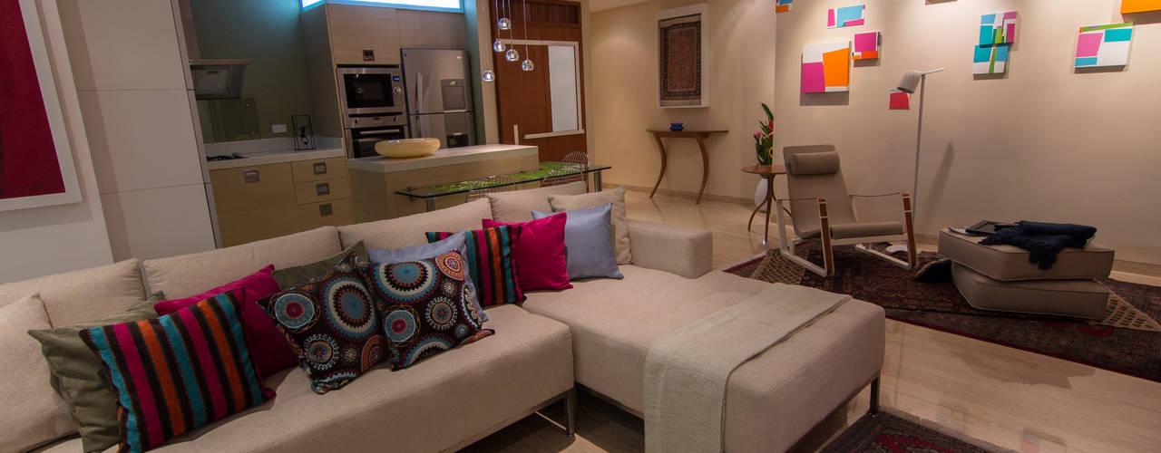 Apartamento B24: Salas / recibidores de estilo moderno por TRIBU ESTUDIO CREATIVO