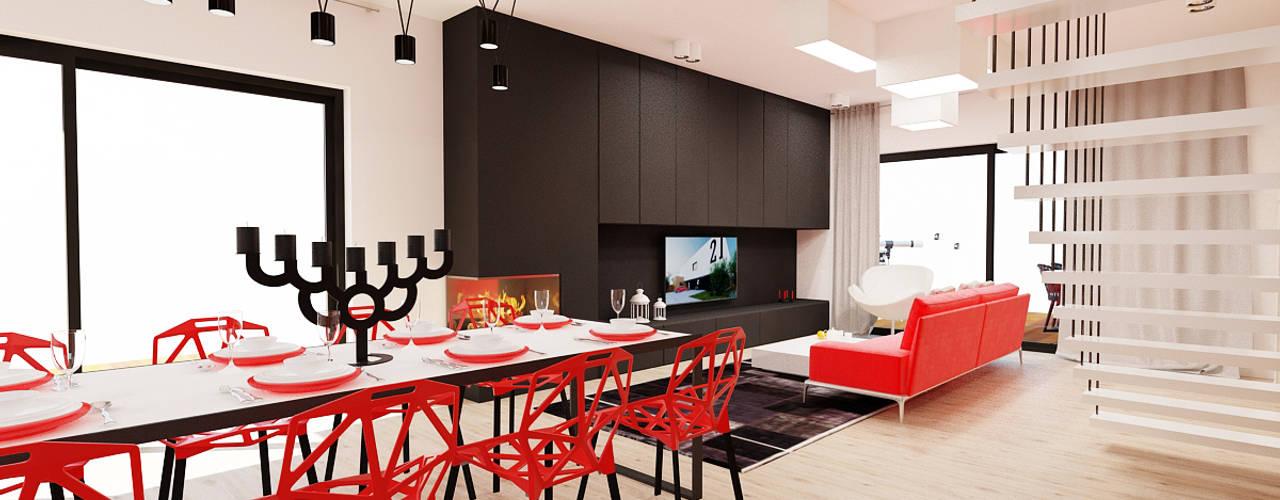 Salon połączony  z jadalnią i kuchnią: styl , w kategorii Jadalnia zaprojektowany przez Ale design Grzegorz Grzywacz
