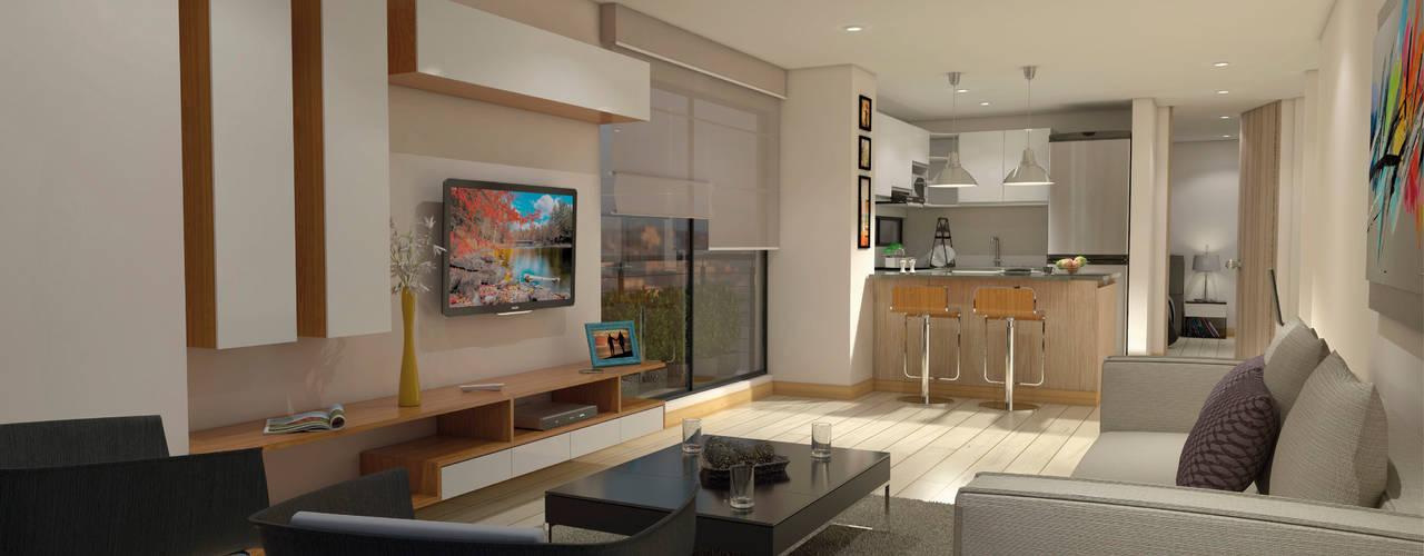 Salas modernas de AP Construcciones S.A. Moderno