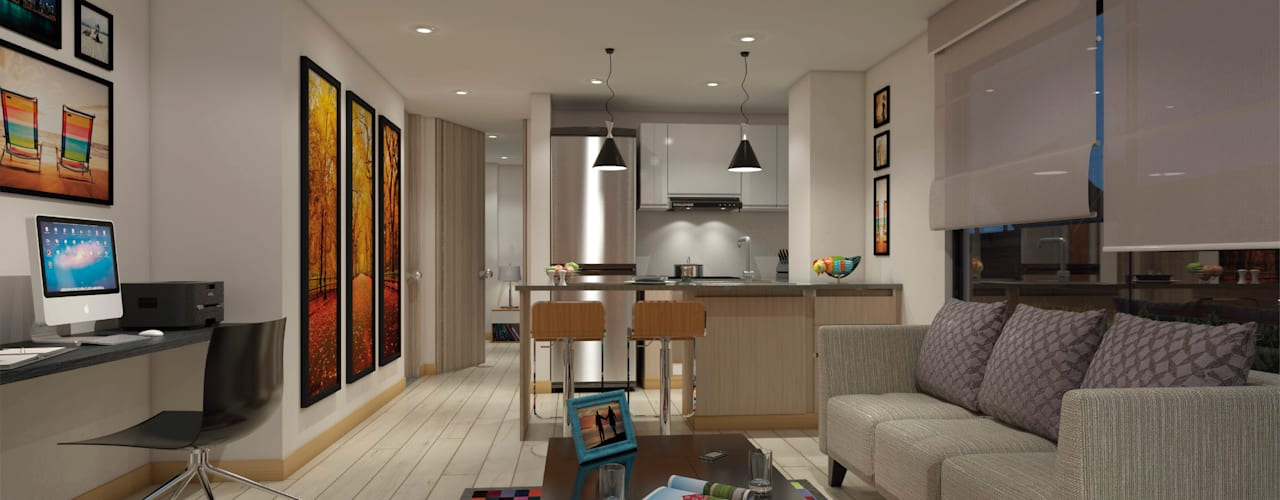 Smarthome 146: Salas de estilo  por AP Construcciones S.A.,