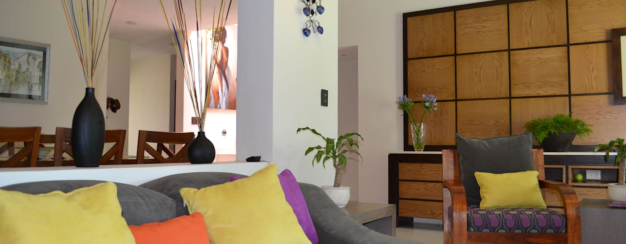 SALA CASA LAS FLORES: Salas de estilo  por EL DIVÁN Arquitectura & Diseño de Interiores