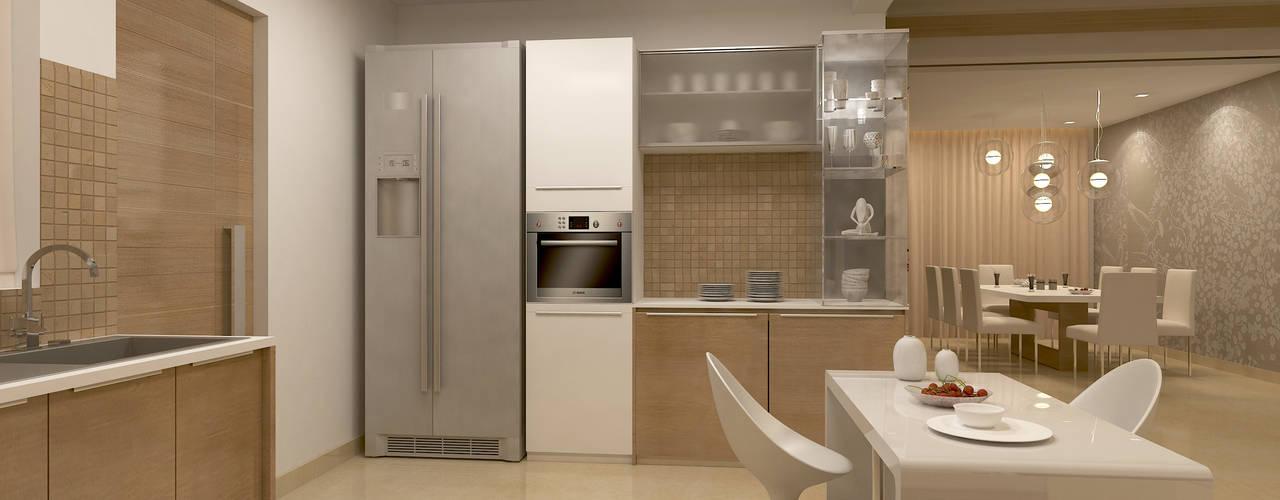 BELLEZEA, NAMBIAR BUILDERS, SARJAPUR, BANGALORE. (www.depanache.in): modern Kitchen by De Panache  - Interior Architects