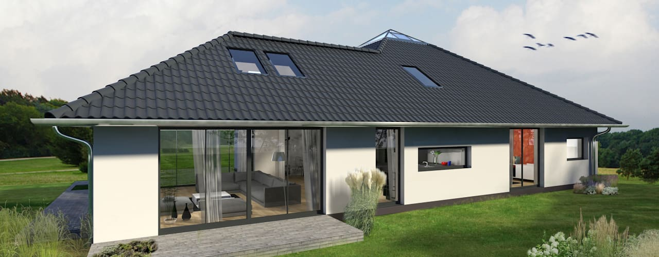 K-MÄLEON Hybridhaus // Winkelbungalow Moderne Häuser von K-MÄLEON Haus GmbH Modern Stahlbeton