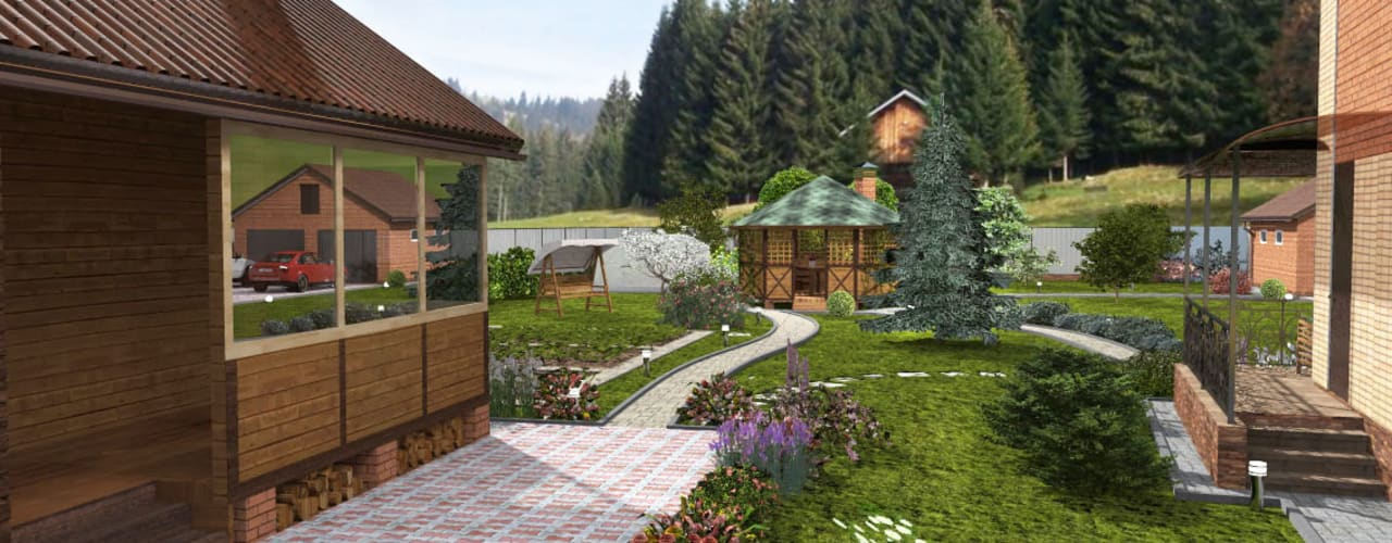 Ландшафтный проект в поселке жареный бугор Сад в стиле модерн от Студия архитектуры и дизайна Вояджи Дарьи Модерн