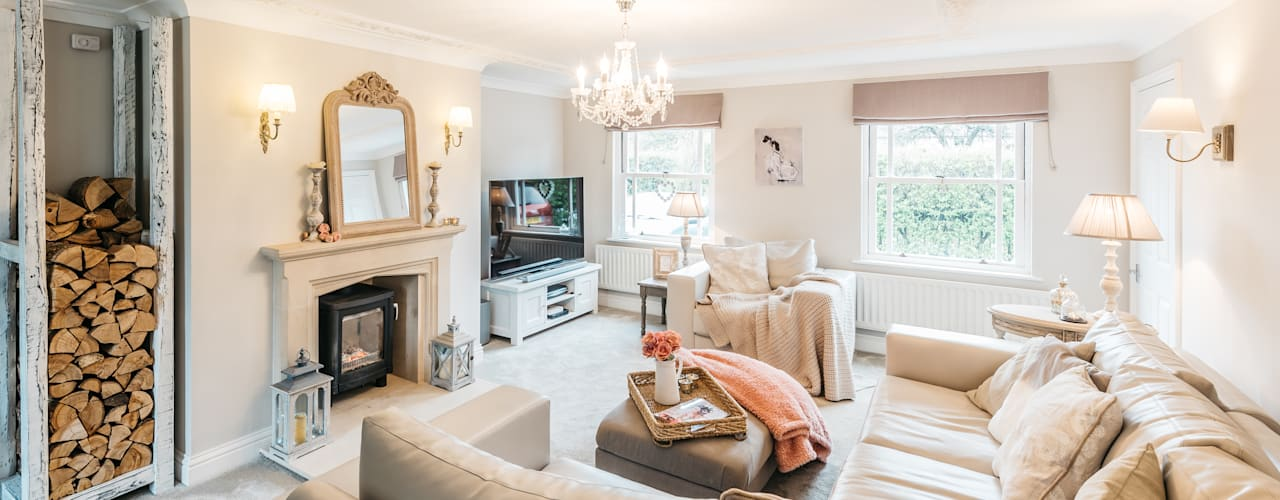 French Shabby Chic Living Room Moderne woonkamers van Katie Malik Interiors Modern