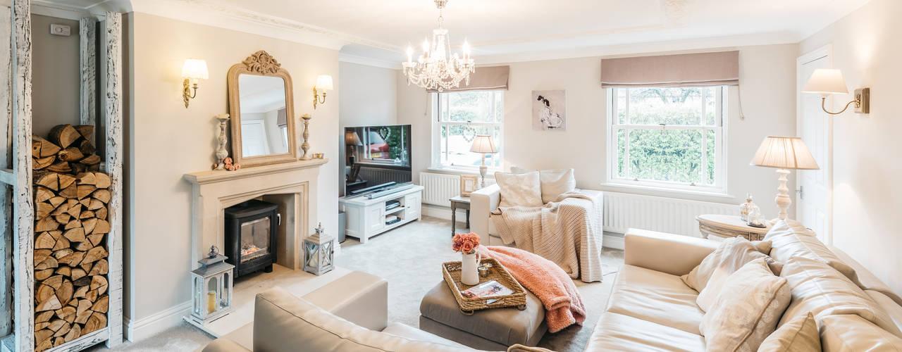 French Shabby Chic Living Room Soggiorno moderno di Katie Malik Interiors Moderno