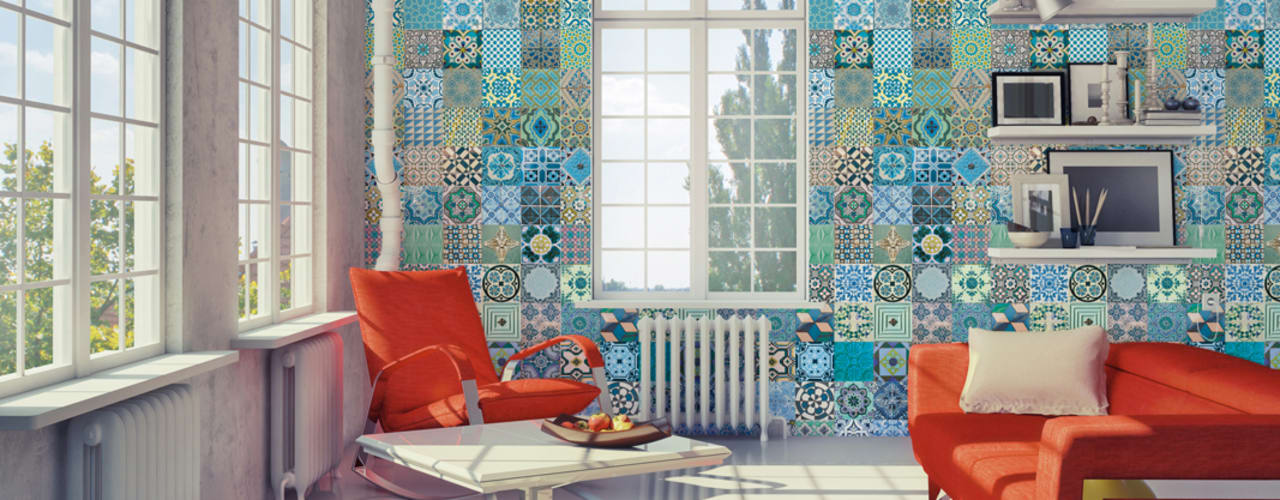 Azulejo Português Coordenado Azul:   por OH Wallpaper