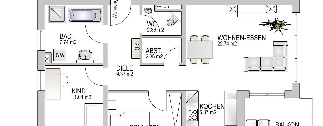 Wohnung 1.3:   von Baudesign Laupheim GmbH & Co. KG