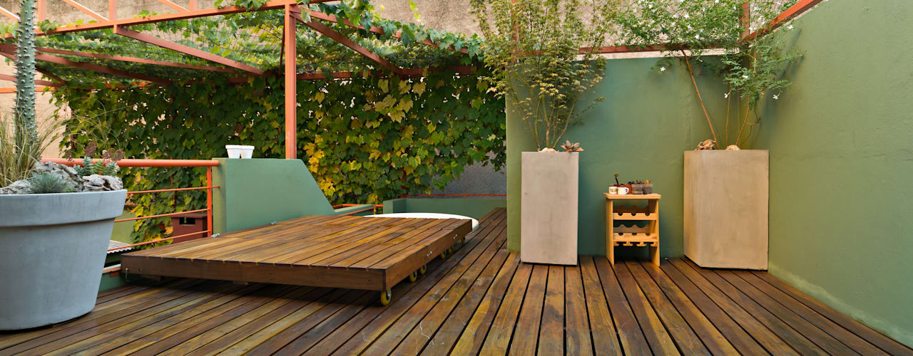 Ph con Parra: Jardines de estilo minimalista por Pop Arq