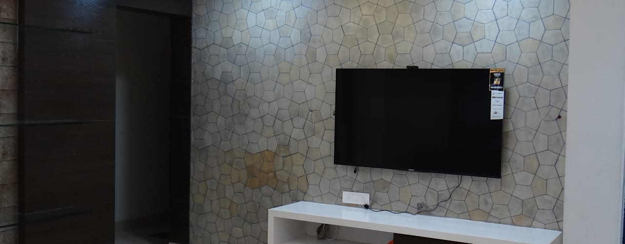 TV Wall cabinet with Stone Cladding background: modern Living room by Hasta architects