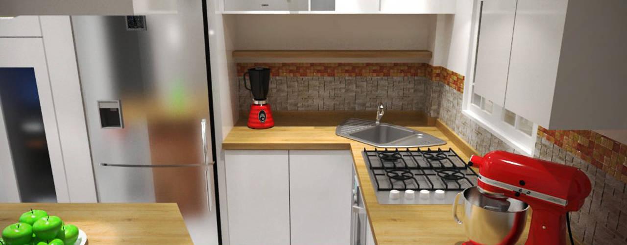 Diseño Sala-Cocina/Comedor : Cocinas de estilo  por Rbritointeriorismo