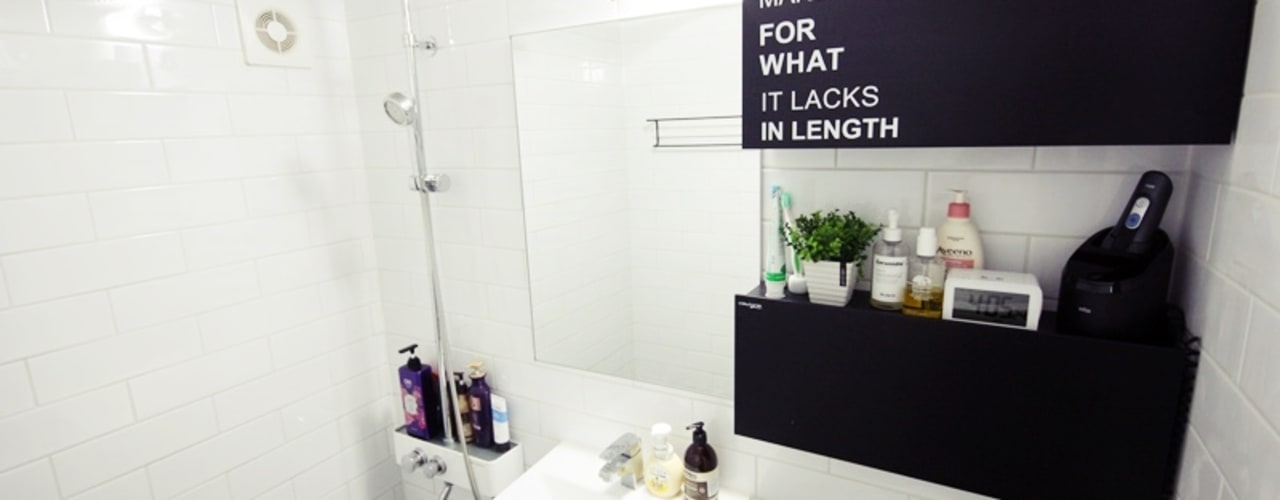 22평 복도식 모던 홈스타일링: homelatte의  욕실,모던