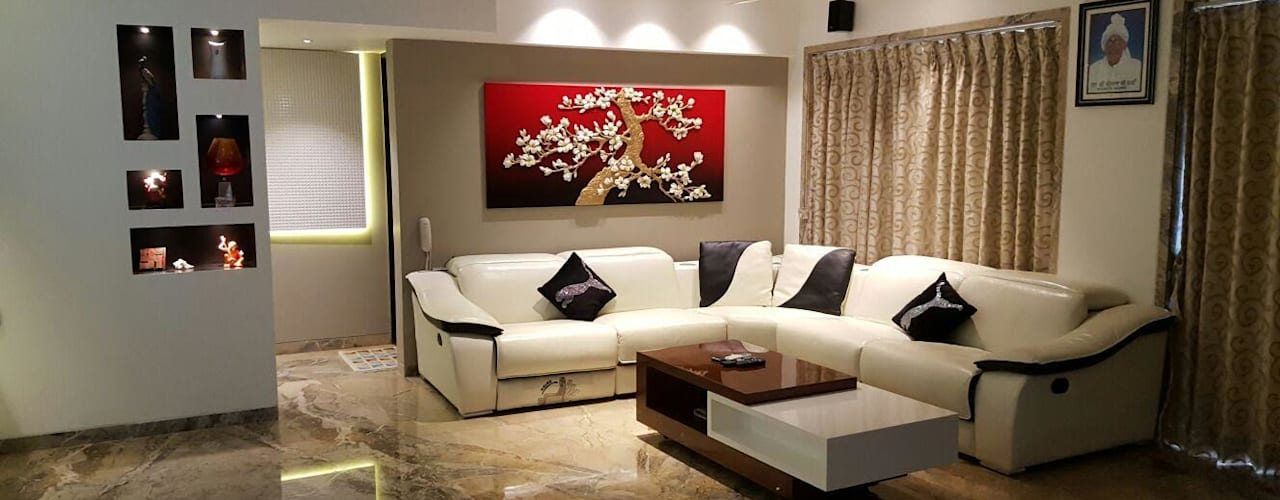 living room:  Living room by NCA  naresh chandwani & associates