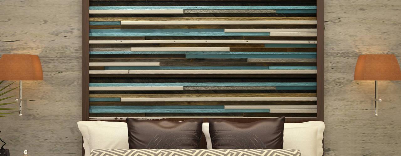 Vaibhav Patel & Associates Asian style bedroom Engineered Wood Multicolored