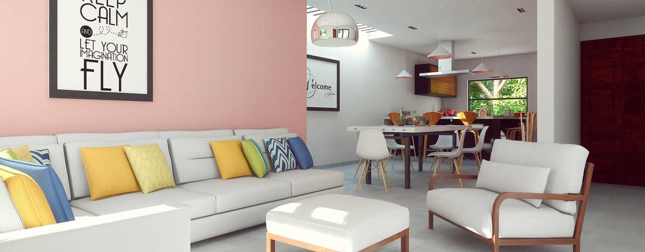 Laboratorio Mexicano de Arquitectura Living room Concrete Pink