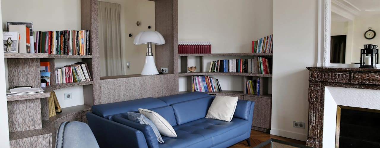 Contemporain et Haussmannien Salon moderne par Agence Laurent Cayron Moderne