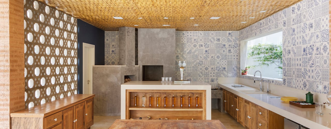 Cocinas de estilo rústico por BAMBU CARBONO ZERO