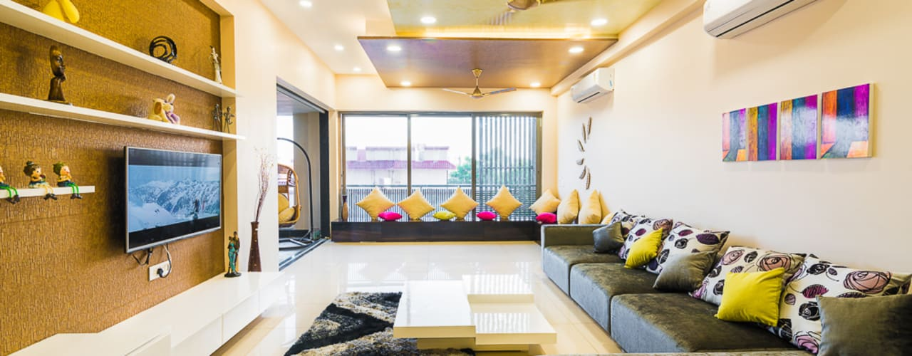 Vibrant Interiors at Iscon Platinum , Ahmedabad by HGCG Architects