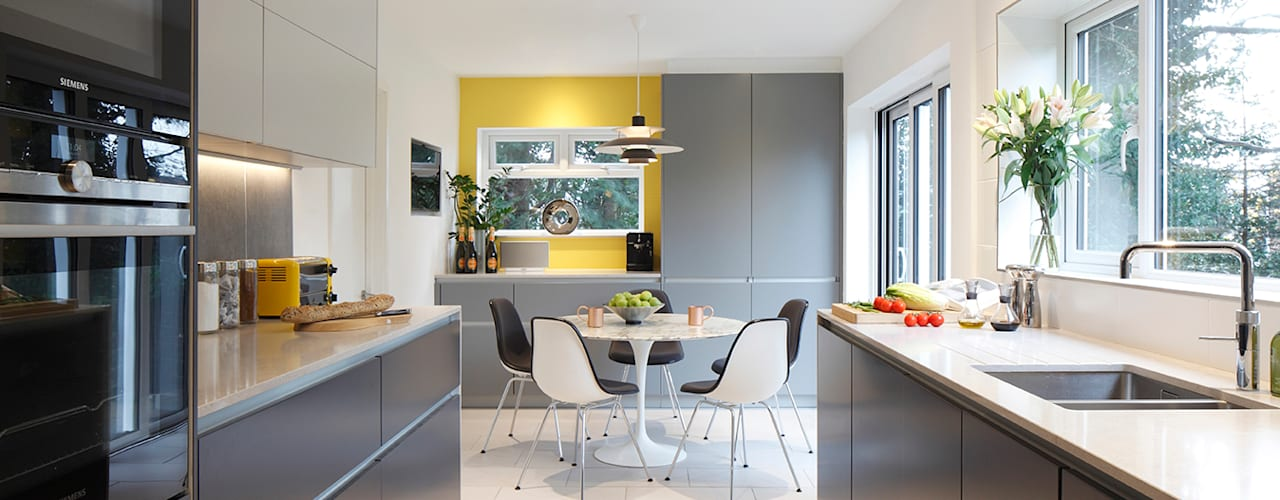 Contemporary kitchen, Essex Paul Langston Interiors Modern kitchen Grey