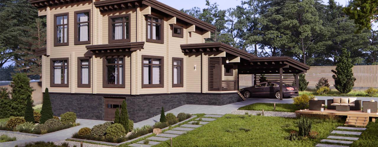 Деревянные дома в традиционных скандинавских цветах:  в . Автор – Аrchirost,