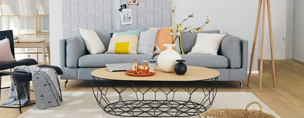 Homemate GmbH Scandinavian style living room Grey