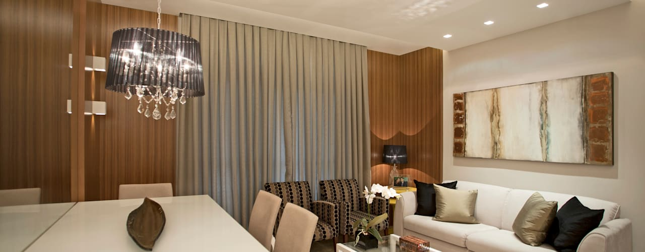 Design de interior completo no apartamento do casal!: Salas de estar  por Andréa Spelzon Interiores,Moderno