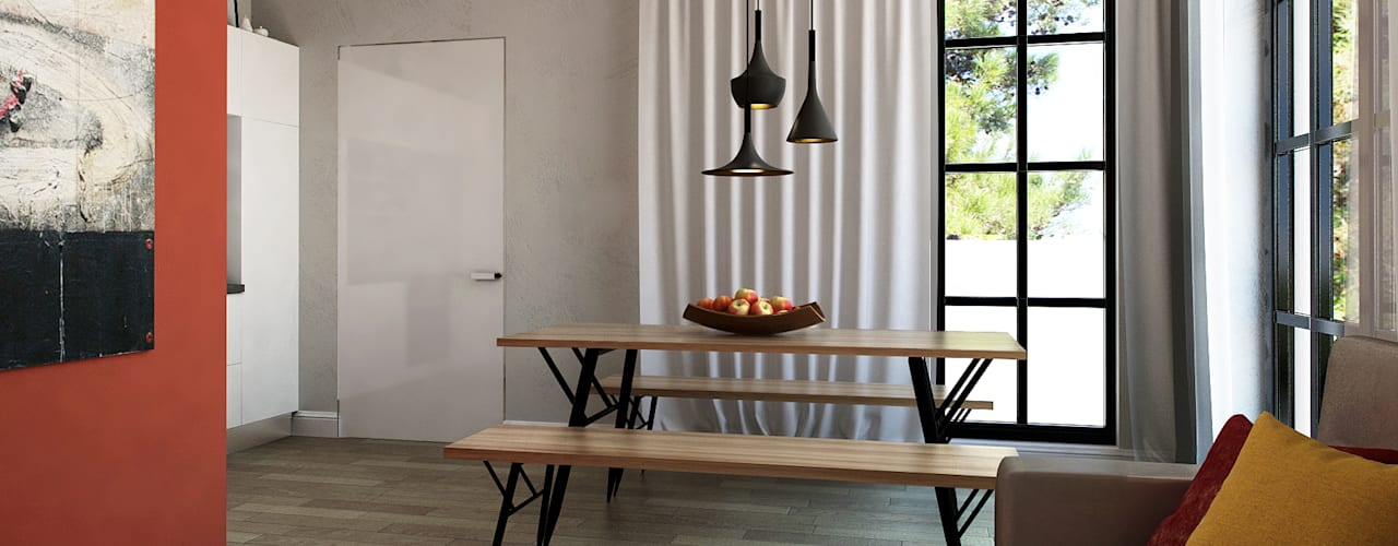 Квартира в Геленджике Porterouge Interiors \ Krasnye Vorota Гостиные в эклектичном стиле Серый
