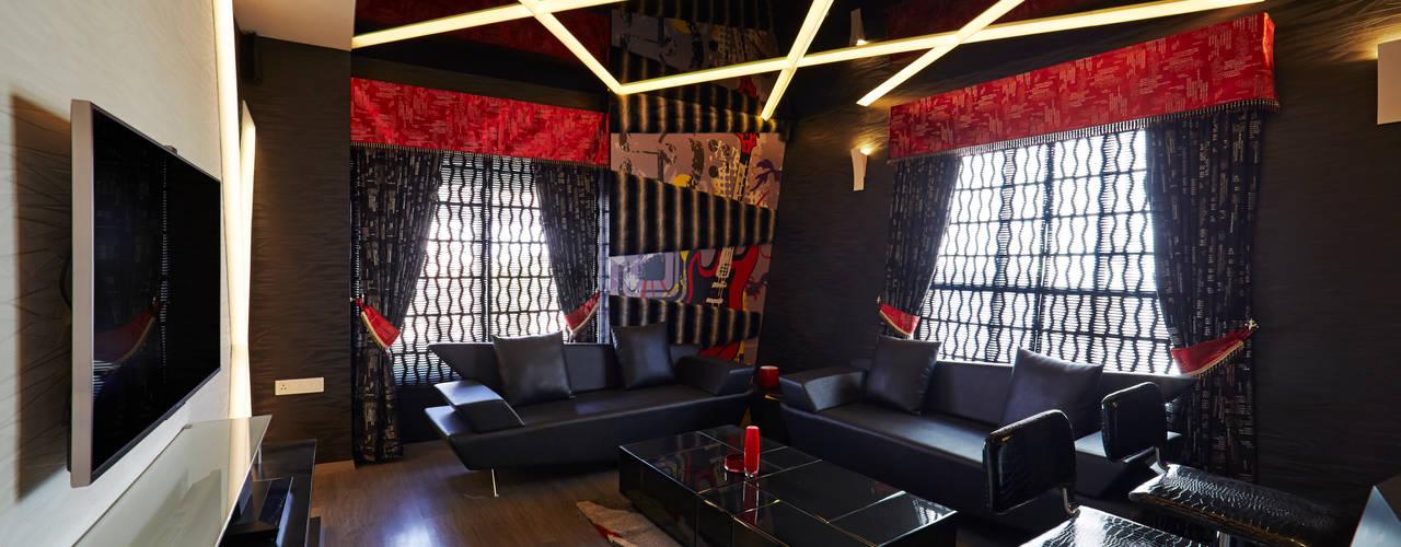 SADHWANI BUNGALOW:  Media room by Square 9 Designs,