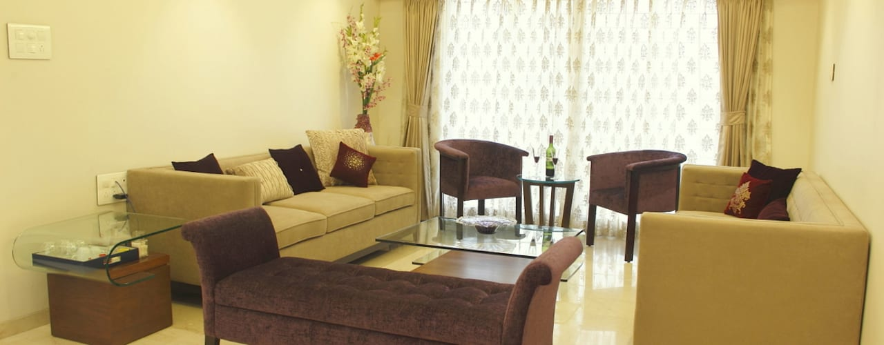 Vasant Vihar-Khar West Minimalist living room by Neha Changwani Minimalist