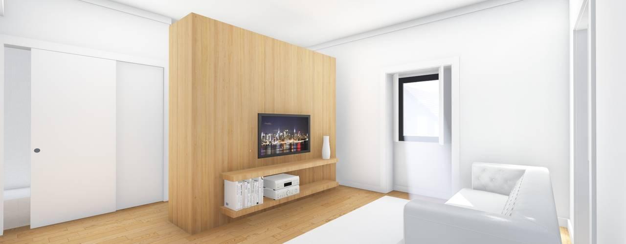 Interior - Apartamento tipo - Sala de estar: Salas de estar  por Arq. Duarte Carvalho