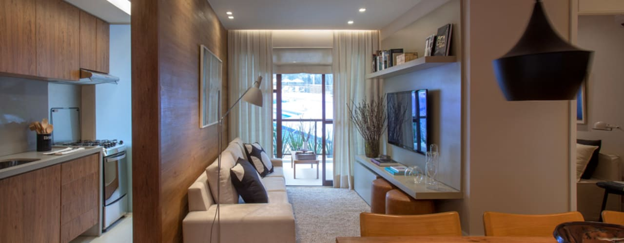 Apartamento decorado RJZ -: Salas de estar  por Gisele Taranto Arquitetura