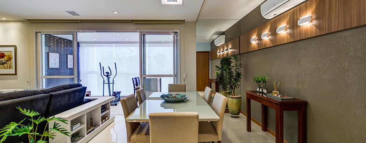 Apartamento Gatos: Salas de jantar  por Eveline Maciel - Arquitetura e Interiores