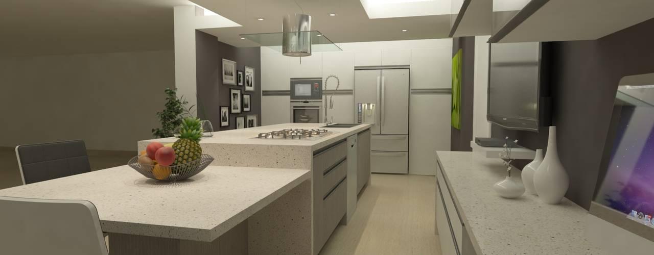 COCINA QUINTA EPE OPFA Diseños y Arquitectura Cocinas de estilo minimalista Compuestos de madera y plástico Gris