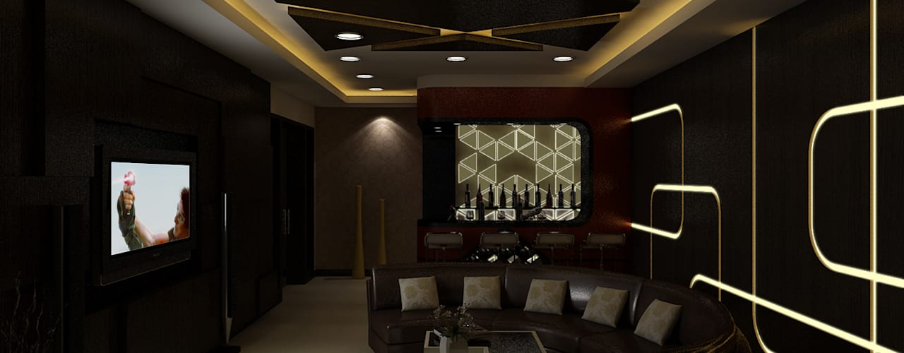 Home Theater :  Media room by The Brick Studio