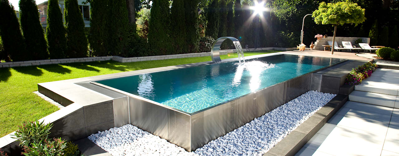 ​Stunning Stainless Steel Pools Piscinas modernas por London Swimming Pool Company Moderno