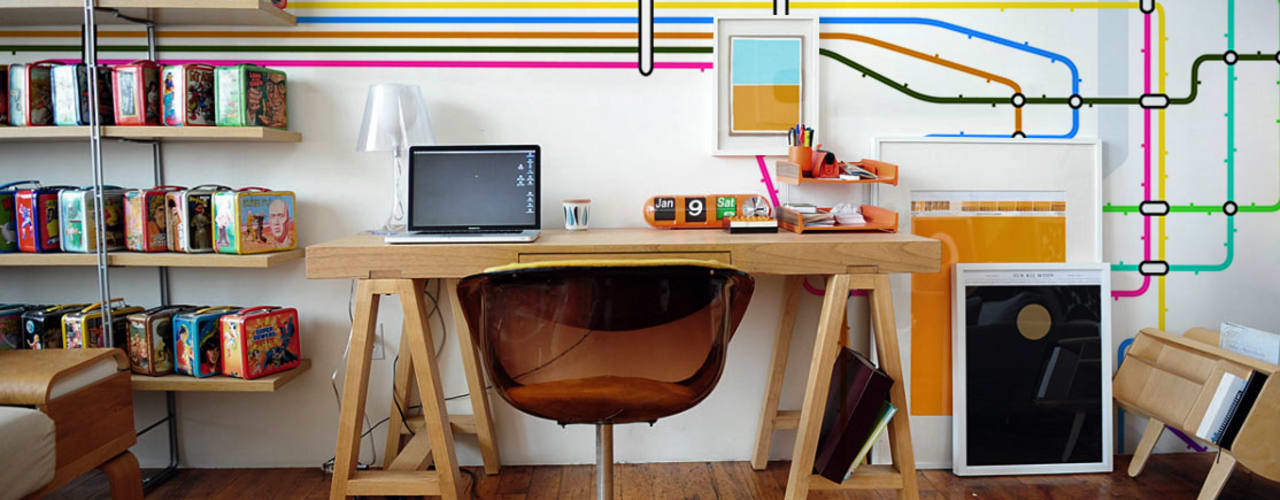Study & office Modern study/office by Pixers Modern