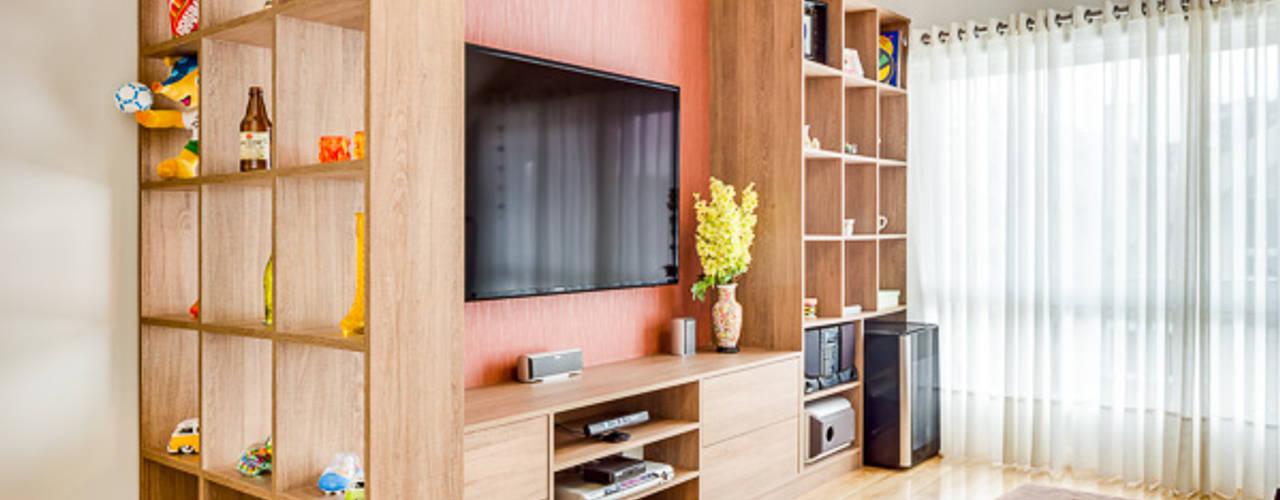 Salas multimedia de estilo moderno de Juliana Lahóz Arquitetura Moderno