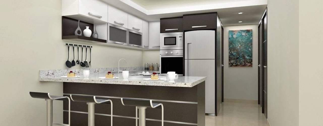 Diseño interior en apartamento, espacio cocina: Cocinas de estilo  por om-a arquitectura y diseño
