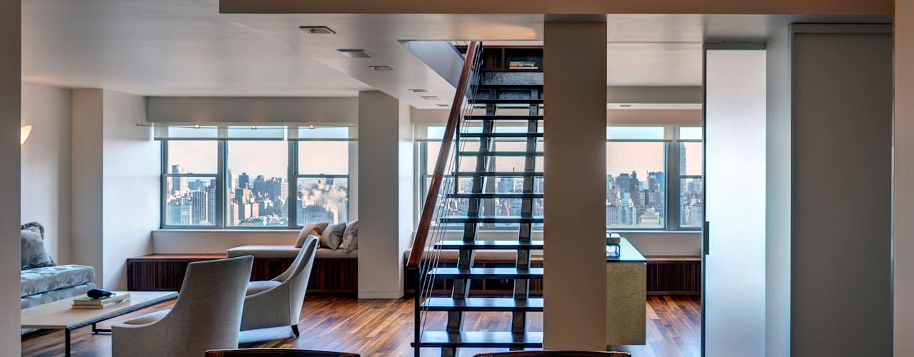 Richman Duplex Apartment, New York Modern Living Room by Lilian H. Weinreich Architects Modern