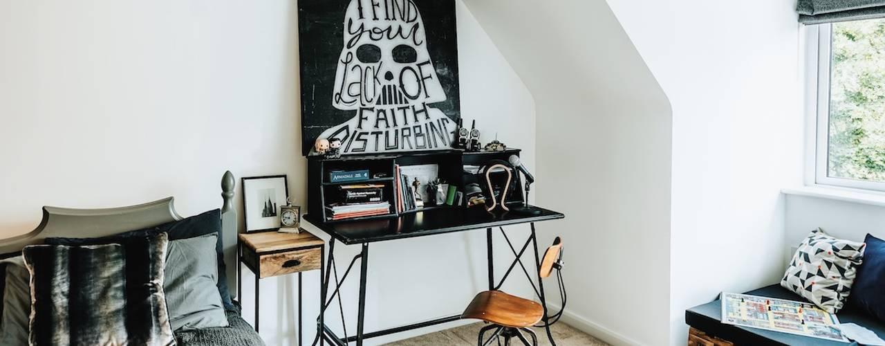 industrial Bedroom by Katie Malik Interiors