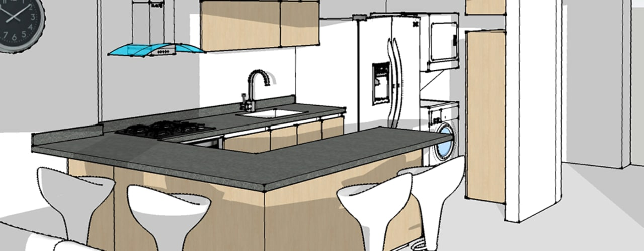Projekty,  Kuchnia zaprojektowane przez Remodelar Proyectos Integrales