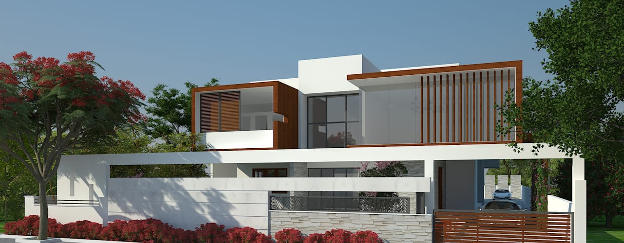 EXTERIOR VIEW:  Houses by De Panache  - Interior Architects