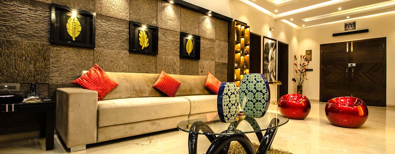 Villa Interior : modern Living room by Maulik Vyas Architects