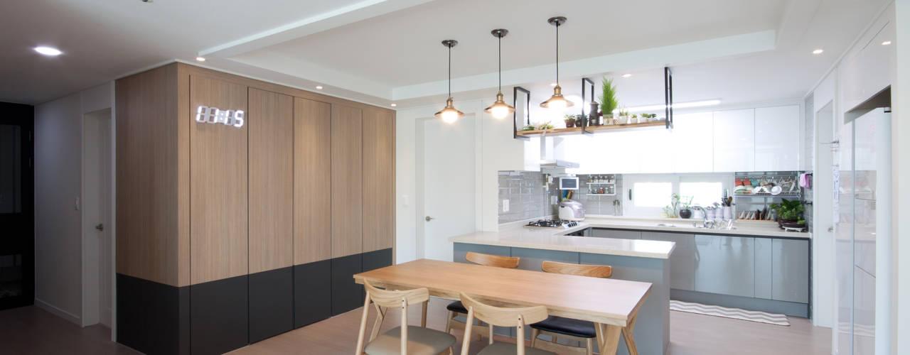 편안한 스타일 아파트 모던스타일 다이닝 룸 by 디자인투플라이 모던