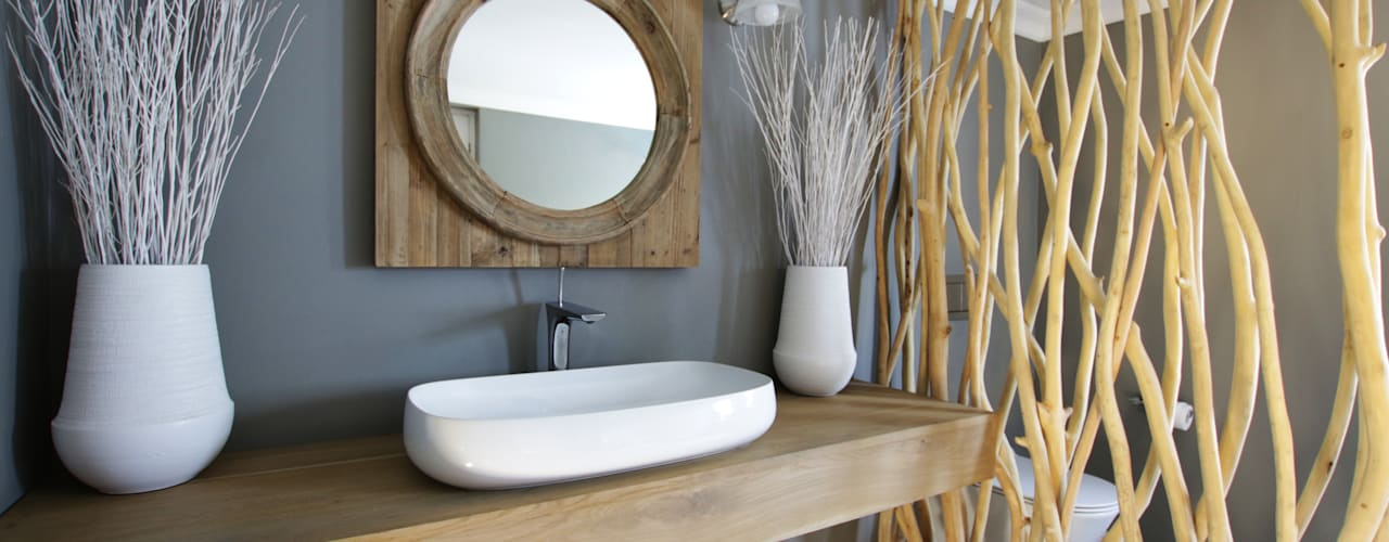 JSD Interiors Rustic style bathrooms Wood Grey