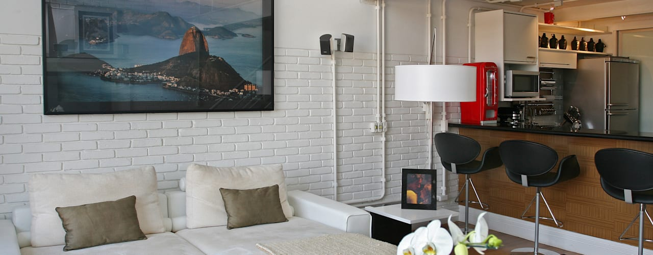 Loft Contemporâneo - Morumbi Salas de estar industriais por Célia Orlandi por Ato em Arte Industrial