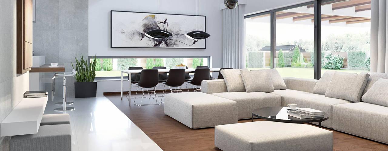 Projekt domu HomeKONCEPT-28: styl , w kategorii Salon zaprojektowany przez HomeKONCEPT | Projekty Domów Nowoczesnych