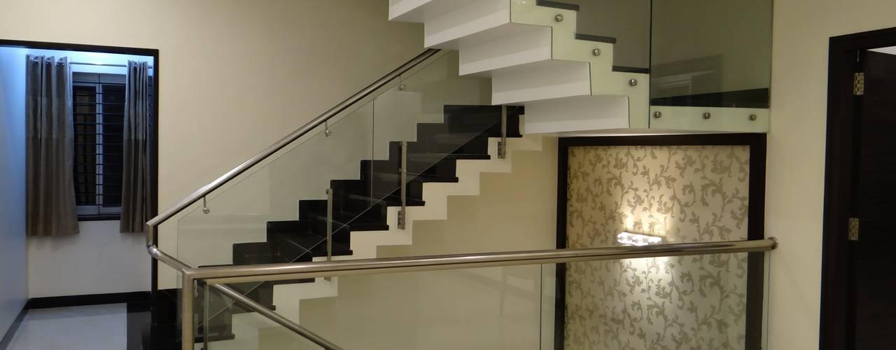 residence of Mr.Lakshman soni Modern corridor, hallway & stairs by Hasta architects Modern